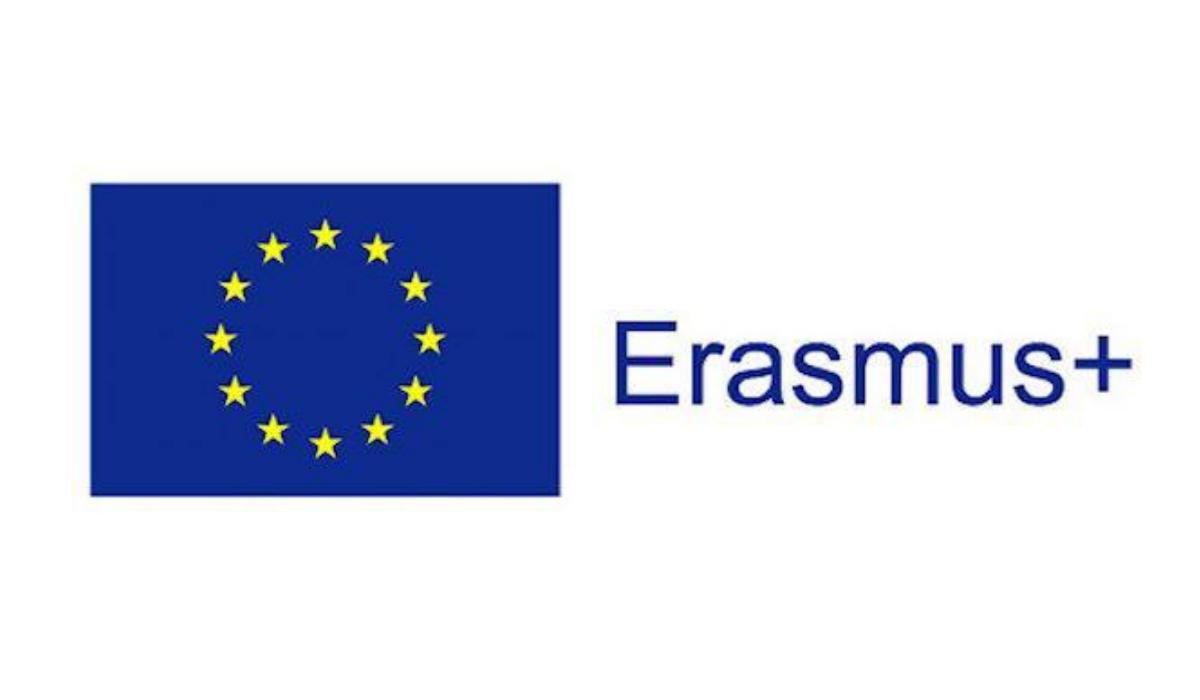 Erasmus + logo vaalealla pohjalla