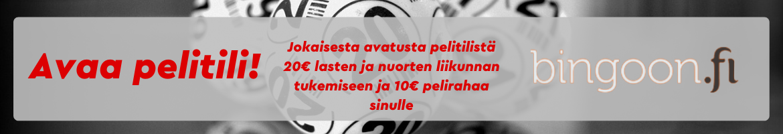 Bingoon.fi: Avaa pelitili nyt! Jokaisesta avatusta pelitilistä 20€ lasten ja nuorten liikunnan tukemiseen ja 10€ pelirahaa