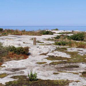 Kylmäläpihlajan luontoa. Kivikkoa, jonka takana loistaa kirkas meri.