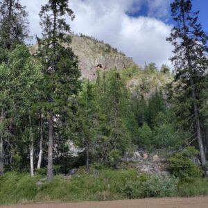 Tasaisella maalla otettu kuva kalliosta ja vihreistä puista sen edessä.