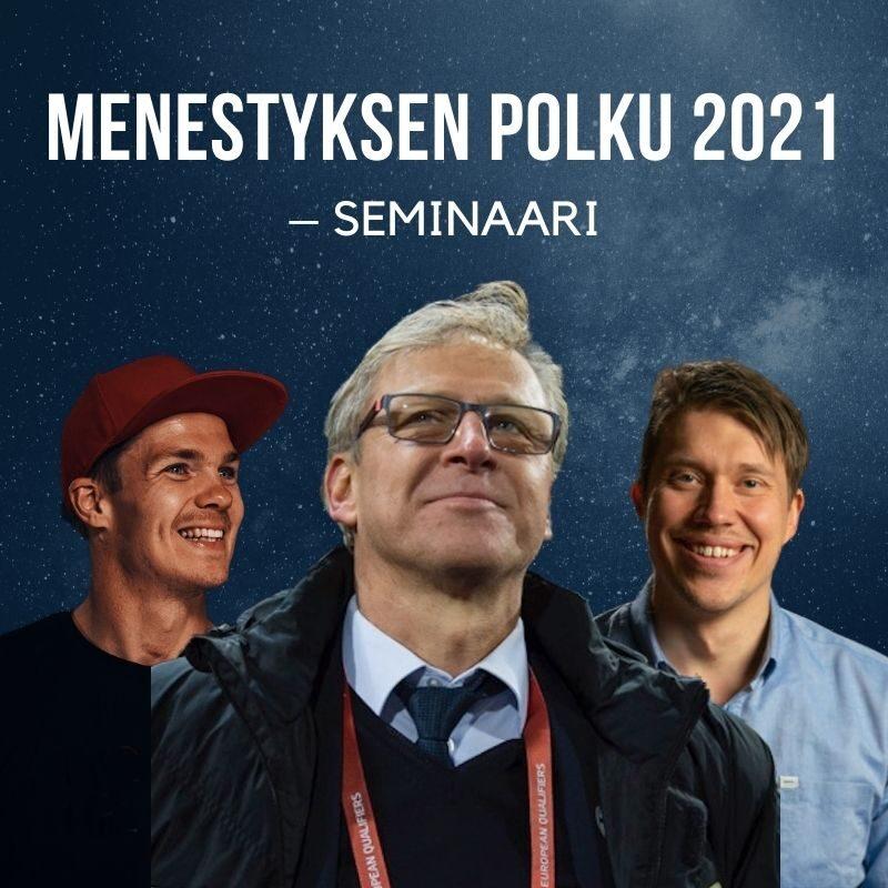 Menestyksen polku 2021 – seminaari. Kuvassa Markku Kanerva, Aleksi Tossavainen ja Pekka Hyysalo seisovat ja taustana tummansininen tähtitausta.